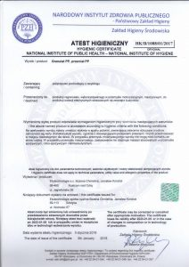 Certyfikat PZH Ekotechnologie